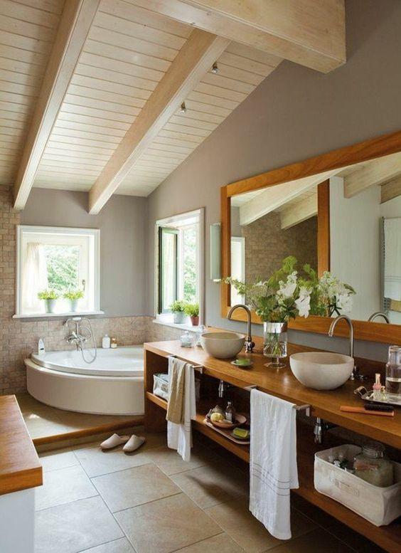 salle de bain zen sous pente, idees deco salle de bain