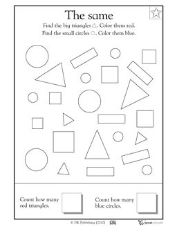 A free math worksheet for PreK and K: In this coloring math worksheet, your child will color the big triangles red and the small circles blue, then count how many there are.  This worksheet originally published in Math Made Easy for Kindergarten by © Dorling Kindersley Limited.
