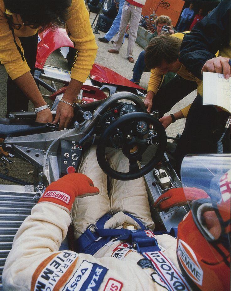 Gilles Villeneuve in his naked lady. 1981 Ferrari 126CK turbo