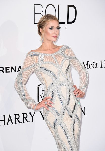 Paris Hilton: Wearing a Yousef Al-Jasmi beaded column dress, gold and silver platform pumps | amfAR's 23rd Cinema Against AIDS Gala at Hotel du Cap-Eden-Roc on May 19, 2016