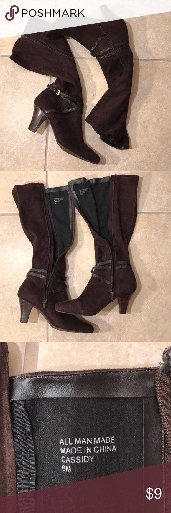 Brown Suede Calf Height Zip Boots This is a nice pair of Calf Height Brown Suede Side Zip Boots. They are in Excellent Condition- minimum use as seen in our pictures. Both zippers are in great working condition. Cassidy Shoes Heeled Boots
