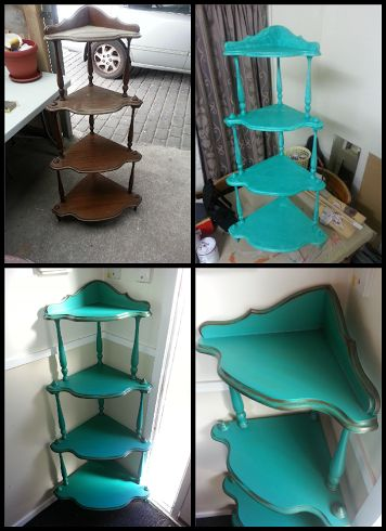 Painted corner shelf makeover, before and after