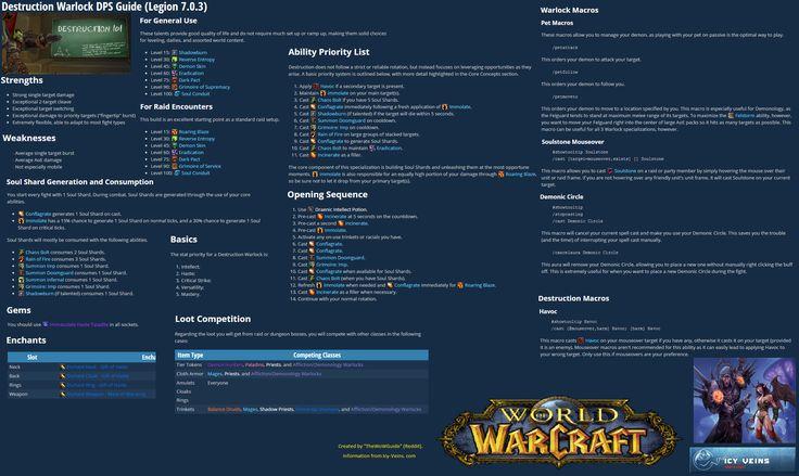 Per request after my Fury Warrior (Legion) guide I present next the Destruction Warlock! #worldofwarcraft #blizzard #Hearthstone #wow #Warcraft #BlizzardCS #gaming