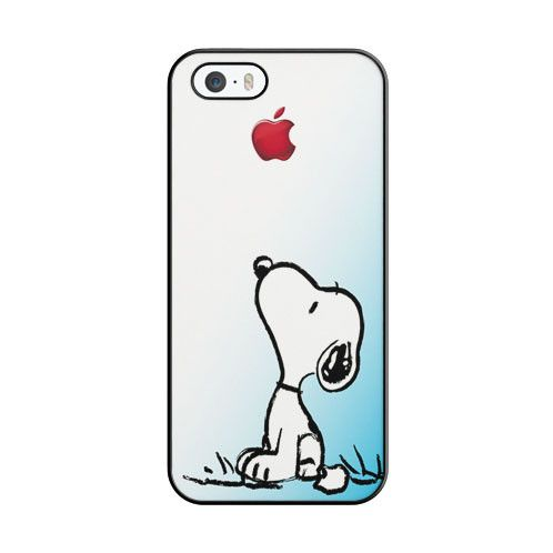 Snoopy Gradient Pink Mint Custome Apple Logo iPhone 5 5S Case