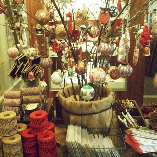 a sneak peek at our newly installed christmas display! featuring metallic baubles, hand-made candy canes, owls and other festive fancies...