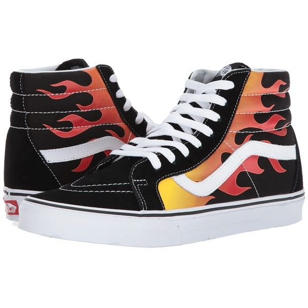 Vans SK8-Hi Reissue ((Flame) Black/Black/True White) Skate Shoes ($65) ❤ liked on Polyvore featuring shoes, sneakers, vans shoes, white high top sneakers, white hi top sneakers, leather sneakers and black hi top sneakers