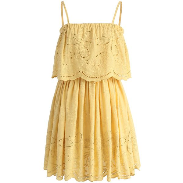 Chicwish Tickle Me Picnic Embroidery Cotton Dress ($51) ❤ liked on Polyvore featuring dresses, vestidos, yellow, yellow dresses, embroidered cotton dress, beige cotton dress, spaghetti strap summer dress and yellow embroidered dress