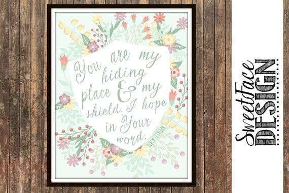 You Are My Hiding Place And My Shield; I Hope In Your Word Psalm 119:114 typographic Scripture print, Bible verse art. Christian home decor by SweetFaceDesign