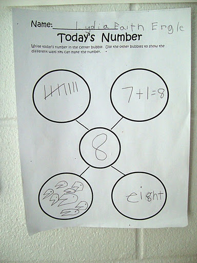 Representing numbers -this connects to a wealth of K classroom math photos based on the Investigtions series.