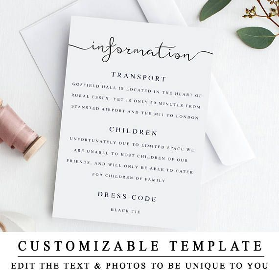 Printable Wedding Details Template Wedding Insert Cards Etsy Wedding Details Card Wedding Details Wedding Printables