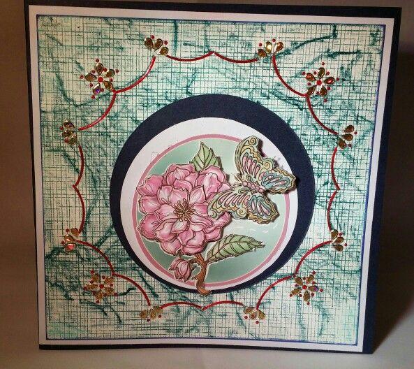 Hobbydots kaart, achtergrond gemaakt het te gekke krijtjes.