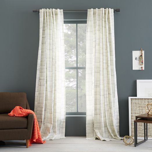 Cotton Canvas Printed Curtain - Etched Grid | West Elm