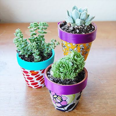 DIY Fabric Covered Flower Pots: Plants Can, Crafts Ideas, Gardens Can, For Kids, Flowers Pots, Flower Pots, Clay Pots,  Flowerpot, Fabrics Covers