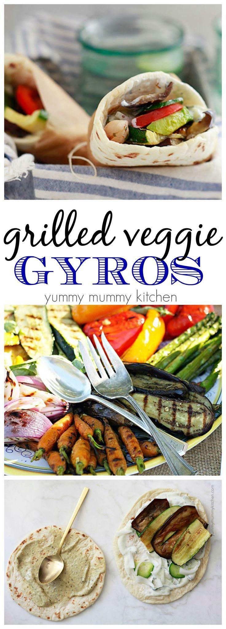 Grilled veggie gyros. I love this easy vegetarian or vegan lunch or dinner.