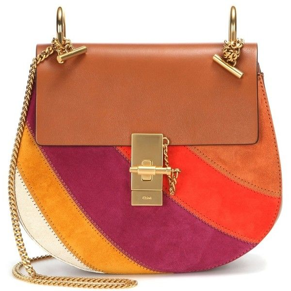 Chloé Drew Small Rainbow Patchwork Leather and Suede Shoulder Bag ($2,295) ❤ liked on Polyvore featuring bags, handbags, shoulder bags, brown, brown handbags, brown leather purse, leather shoulder bag, brown leather handbag and chloe shoulder bag