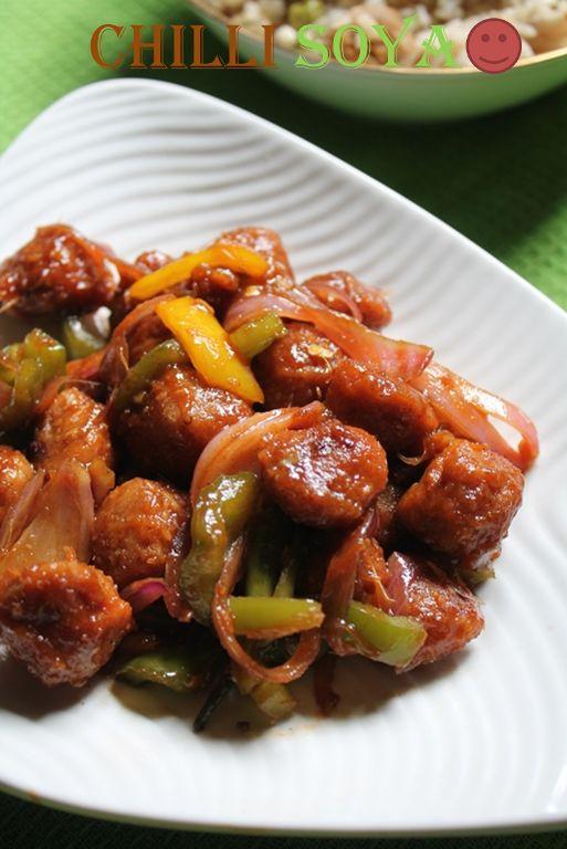 Chilli Soya Nuggets Recipe / Chilli Soya Chunks Recipe / Chilli Soya Chunks (Meal Maker) Dry Recipe