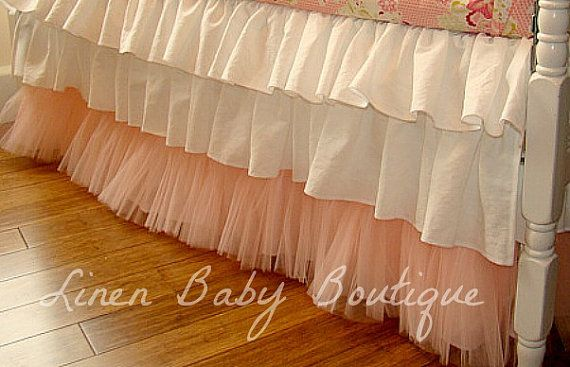 3 Tiered Tulle Crib Skirt Ruffled Crib Skirt--if some tiers separated off then you could keep using it with a lowered crib/toddler bed
