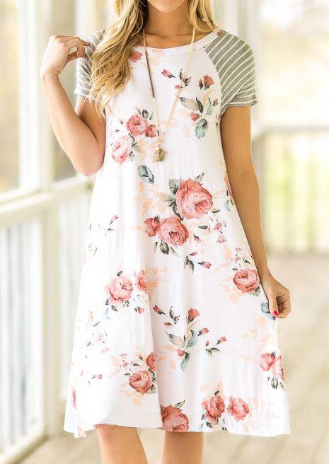 White Backdrop A-line Loose Floral Print T-shirt Dress