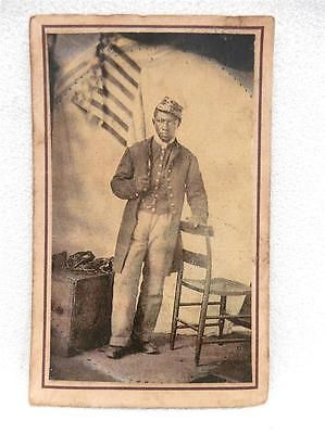 Black African American Soldier Civil War w Flag CDV Army of Potomac Back REPRO. in Collectibles, Photographic Images, Vintage & Antique (Pre-1940), CDVs | eBay