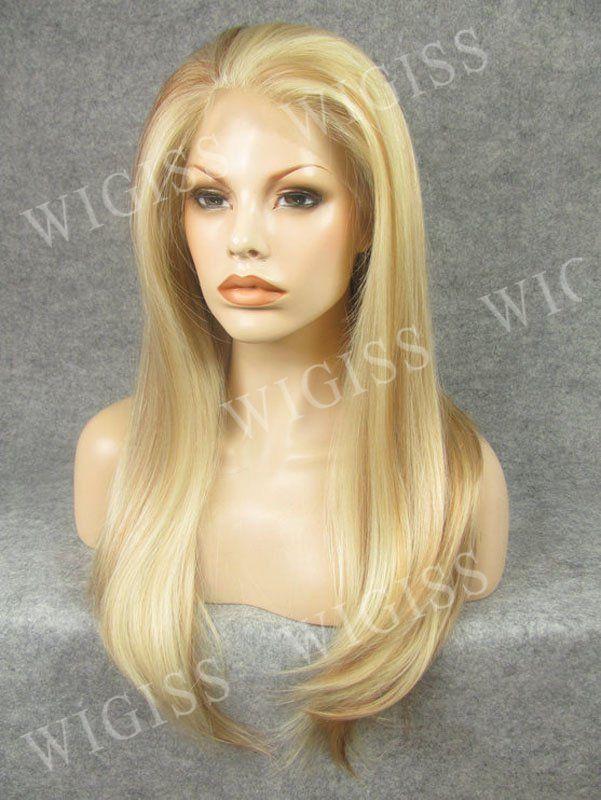 Beautiful Straight Long Wig Lace Front Women Full Wigs Kanekalon Fiber Synthetic #wigiss #FullWig