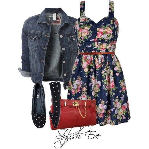 Floral dress with jean jacket. | Fashion~styles | Pinterest | Summer Style and Summer looks