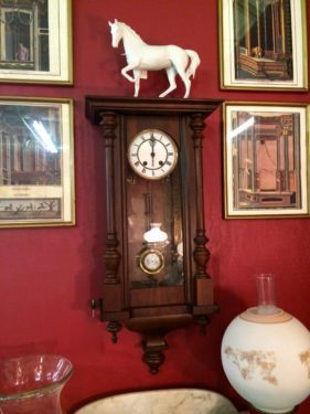 German Wall Clock   $525  Butler Creek Antiques Dealer #8804  Lucas Street Antiques 2023 Lucas Dr. Dallas, TX 75219