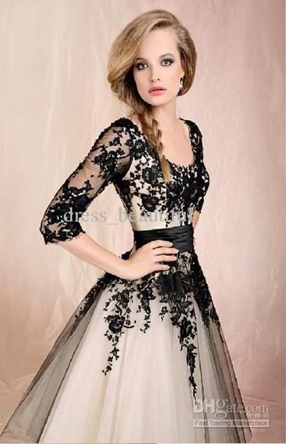 Black 3/4 Long Sleeves Lace Tea-Length Ball Gown Elbow Tulle Short Wedding Dresses Cocktail Dress