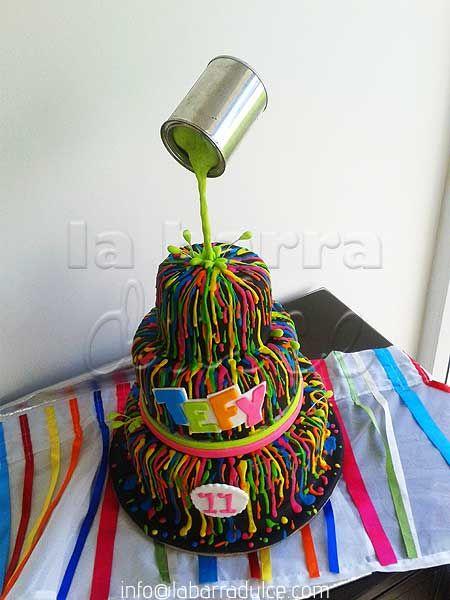 Neon splatter cake upside down tin can paint art splatter pintura glow in the dark chorreado icing fondant brilla en la oscuridad fluorescente fosforecente black cake