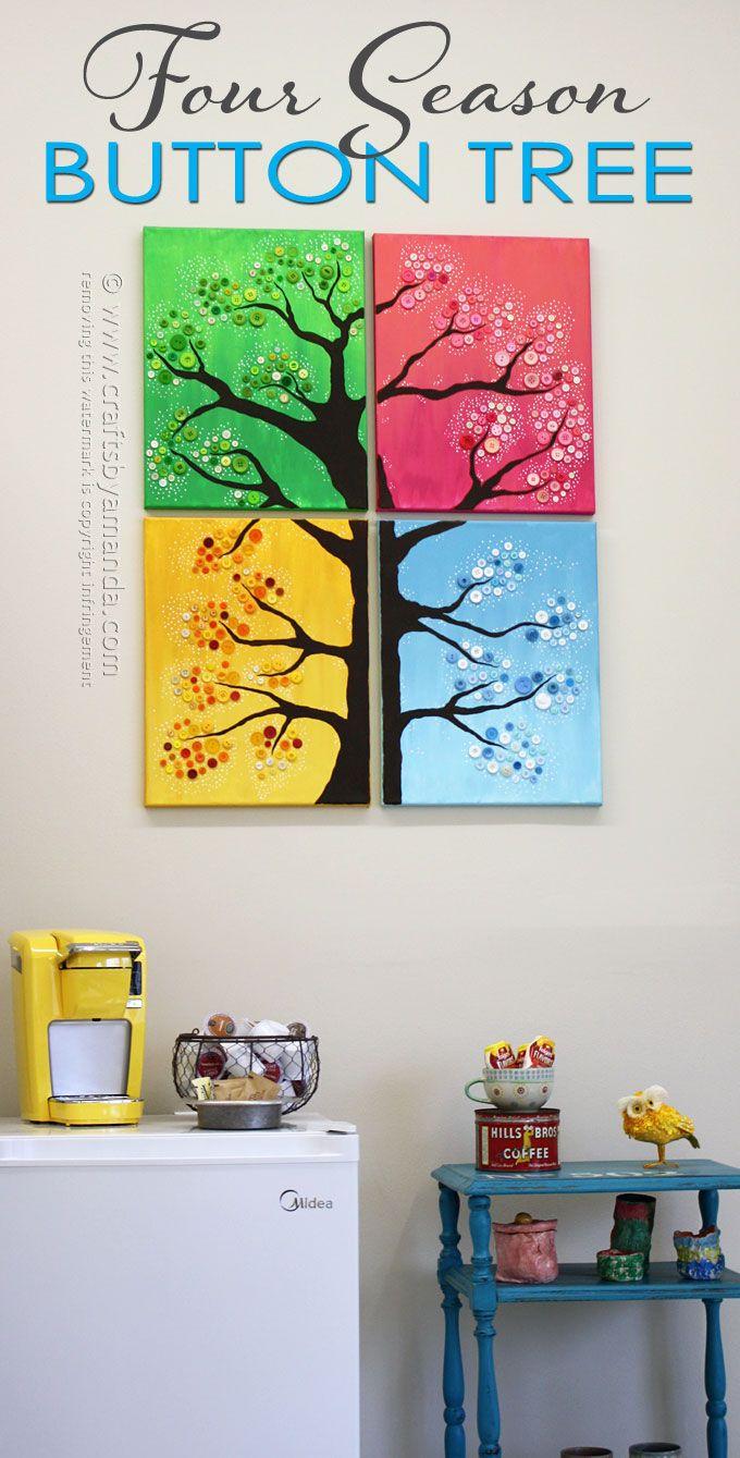 4 Seasons Botón del árbol Arte de la pared de Amanda Formaro, Artesanía de Amanda