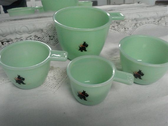 Jadeite Measuring Cup Set with Scottie Dogs by Collectiblecountry, $165.00 ~ OH BE STILL MY HEART!