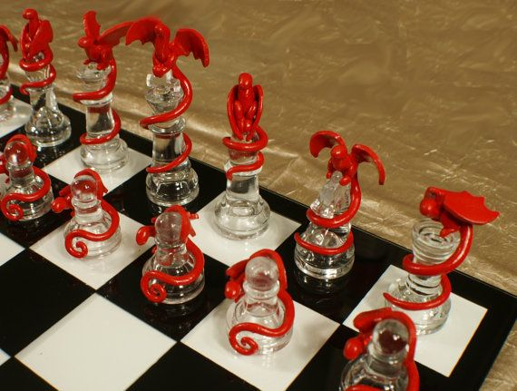 Epic Dragon Chess Set - Glass Board, Polymer Clay Dragons, Handmade, Firey Red and Icey Blue, Fire and Ice