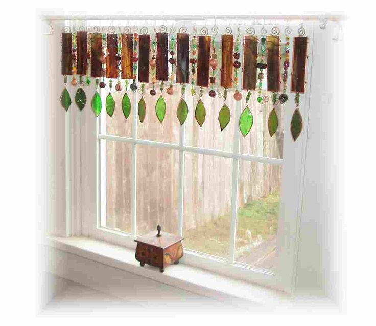 A Walk in the Woods Stained Glass Window Valance Curtain Window Treatment. $202,00, via Etsy.