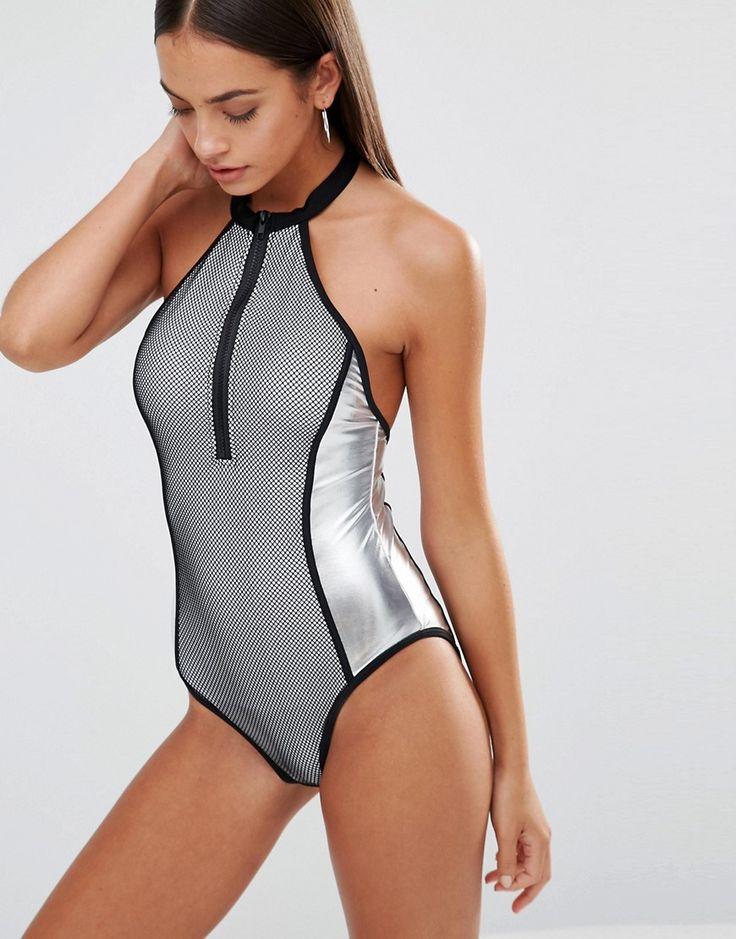 Missguied Fishnet Metallic Swimsuit