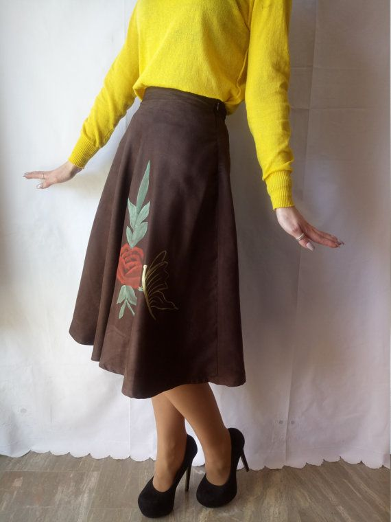 Brown Skirt with Handmade painted flowers.One of a Kind!Unique creation!