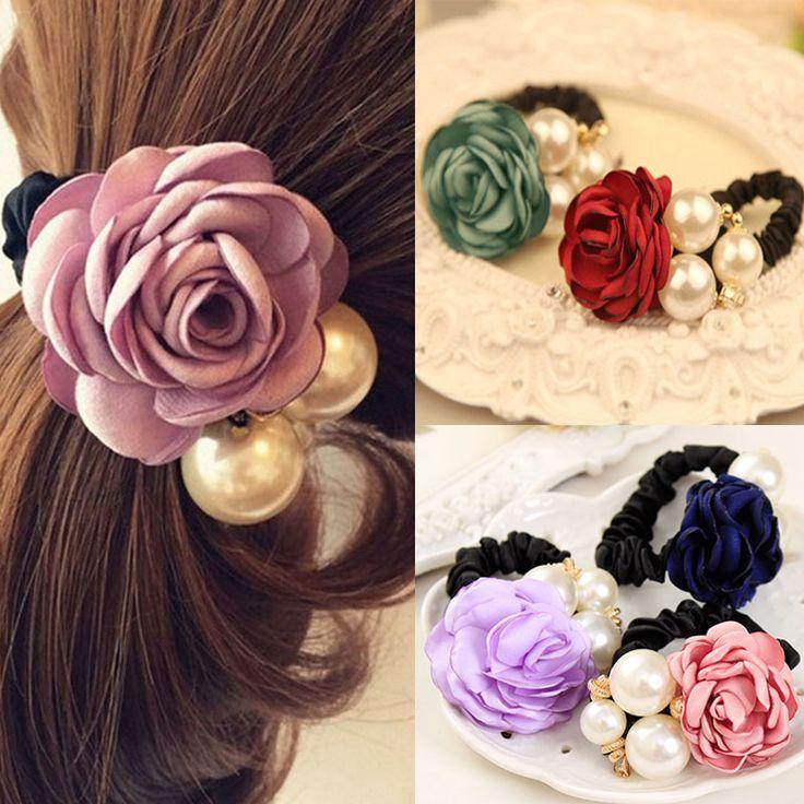Мода Жемчужина Цветок Ленты Для Волос для Женщин Девушки Три Жемчуг Декор Эластичный Хвост Держатель