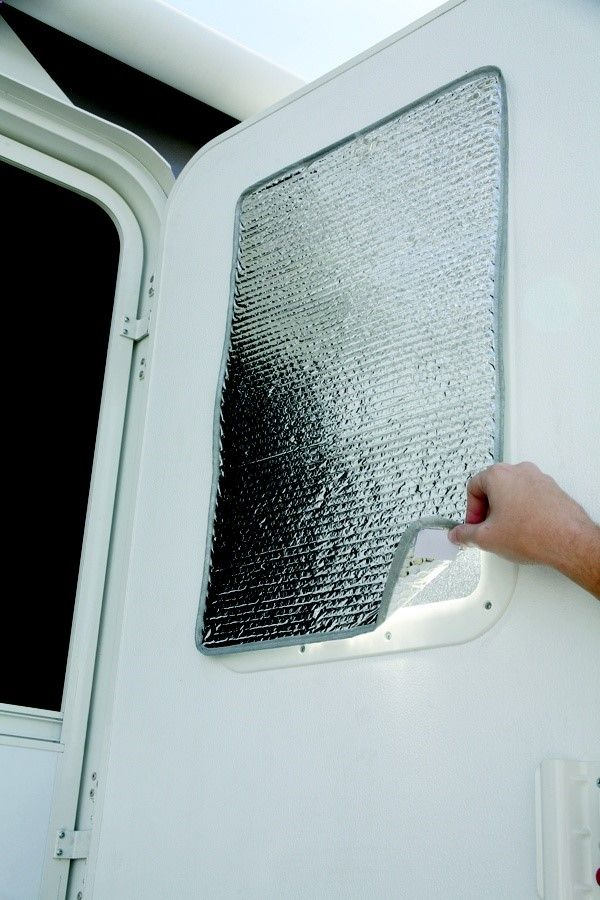 Camco 45167 Reflective Door Window Cover Solar Door Shade Camper Trailer RV Shade reduces heat loss in the winter and reflects sunlight to keep out heat in the summer. Installs easily with Velcro tabs