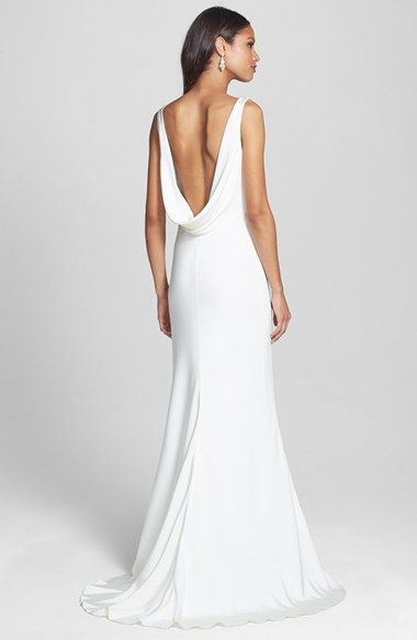 BLISS Monique Lhuillier Draped Neck Silk Crepe Wedding Dress (In Stores Only) | Nordstrom