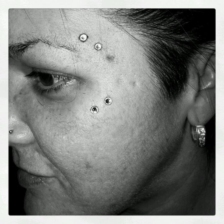 Re did her Eye Dermals  #piercings #piercing #holdsteadytattoo #westwarwick #coventry #rhodeisland #ri #tattoo #tattooshop #tattoos #providence #jewelry #eyedermals #eye #Dermal #dermals