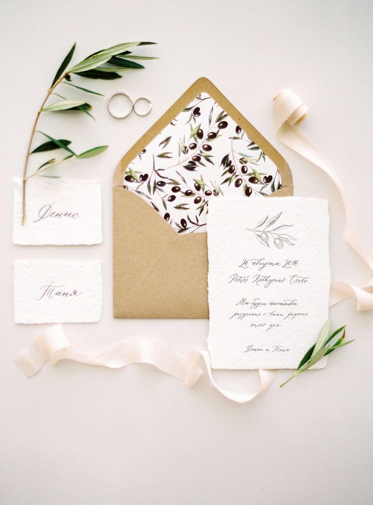 natural wedding invitation suite - photo by Olga Plakitina http://ruffledblog.com/an-intimate-crete-wedding-with-mediterranean-style