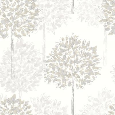 Boulevard Neutral (417905) - Arthouse Wallpapers - A pretty dappled leaf all over tree design with a hand drawn style and metallic inks. Shown here in shades of silver and grey on off white. Please request sample for true colour match.