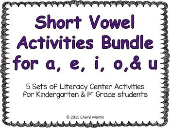 Here's a bundle of all 5 short vowel activities packets. These are phonics and spelling activities to use in your literacy centers to reinforce CVC words and word families with short vowel sounds. They are great to use at the beginning of the year for reviewing skills.