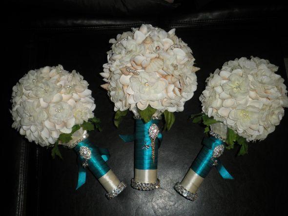 My Diy Seashell Bouquet Wedding Teal Ivory Bridesmaids