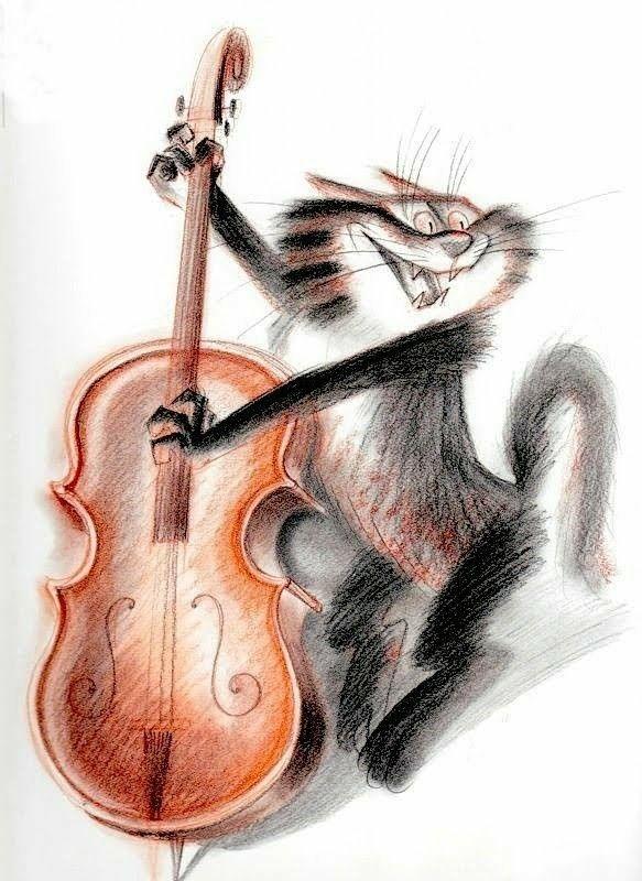 Кот играет на скрипке картинки