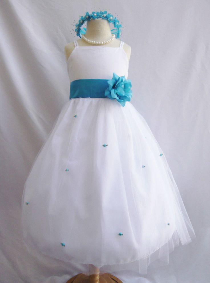 BLANC fleur fille robe plus de 20 châssis et fleur couleurs rosebed 021A by KidsDreamsUSA on Etsy