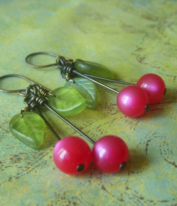 Cherry Fruit Earrings on Brass  Vintage Lucite by beadstylin