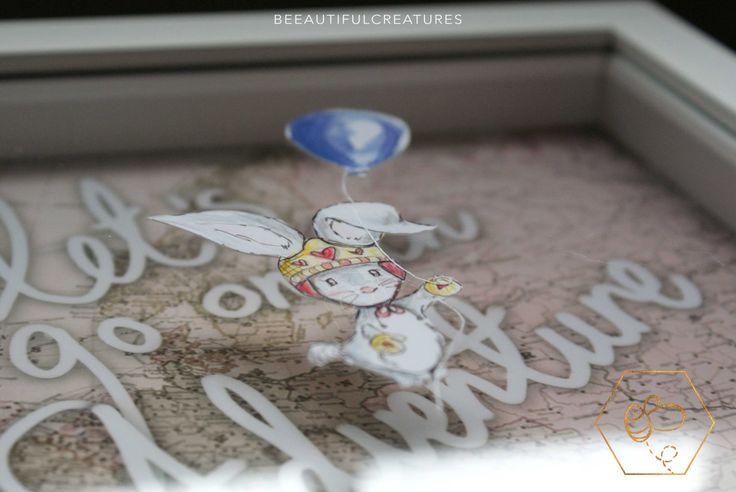 Adventure Paper Cut, Rabbit Illustration, Girls Nursery Decor, Vintage Map Paper cut, Pink Bedroom Decor, Flying Bunny Art, Balloon Art by BEEautifulcreatures on Etsy