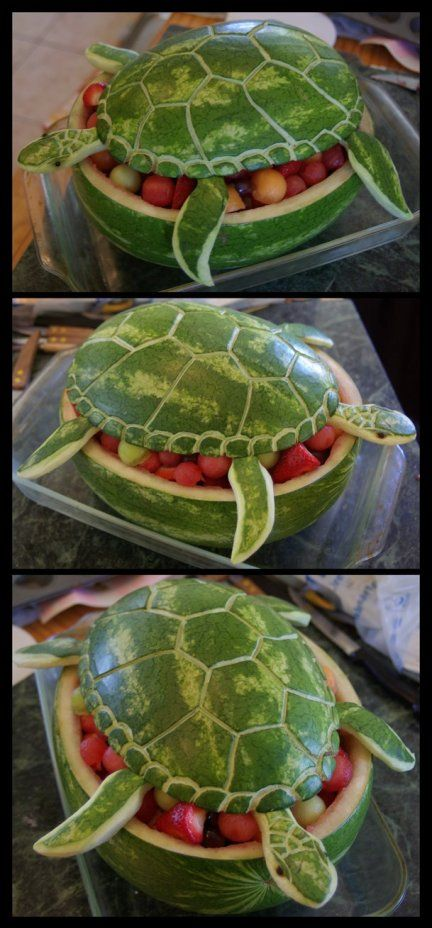 Sea turtle fruit bowl. Under the sea party, Tropical party: Luau, Hawaiian, Caribbean, Moana themes. Small World gets big with cultural party themes | Halfpint Design