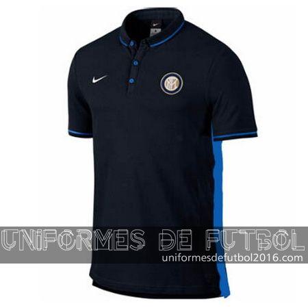 Camisetas polo Inter Milan negro 2015-16    uniformes de futbol economicos