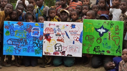 Set of x3 Paintings $800 +pp - Created by the people of Yamba Village, Tanzania -  Fundraising for Village Africa - Tanzania - e: charity@doodlejam.com  vibrant group paintings using doodles #DoodleJam