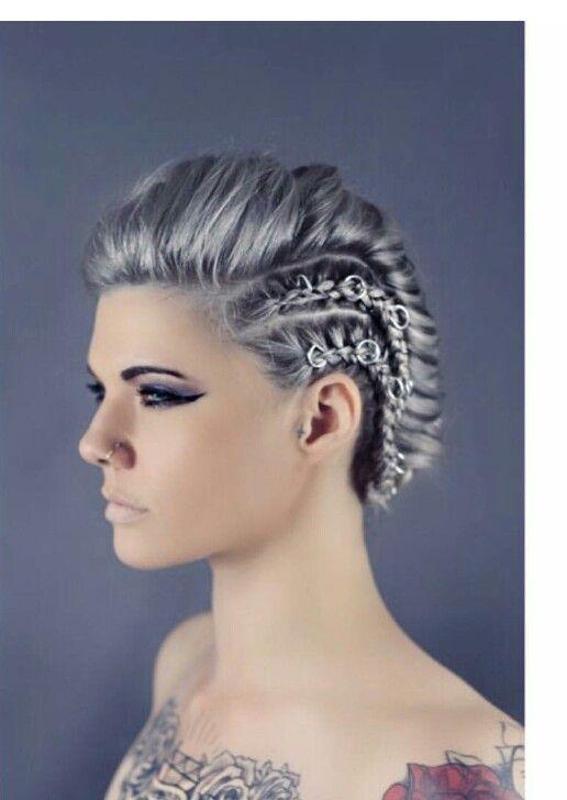 silver braided faux hawk braids